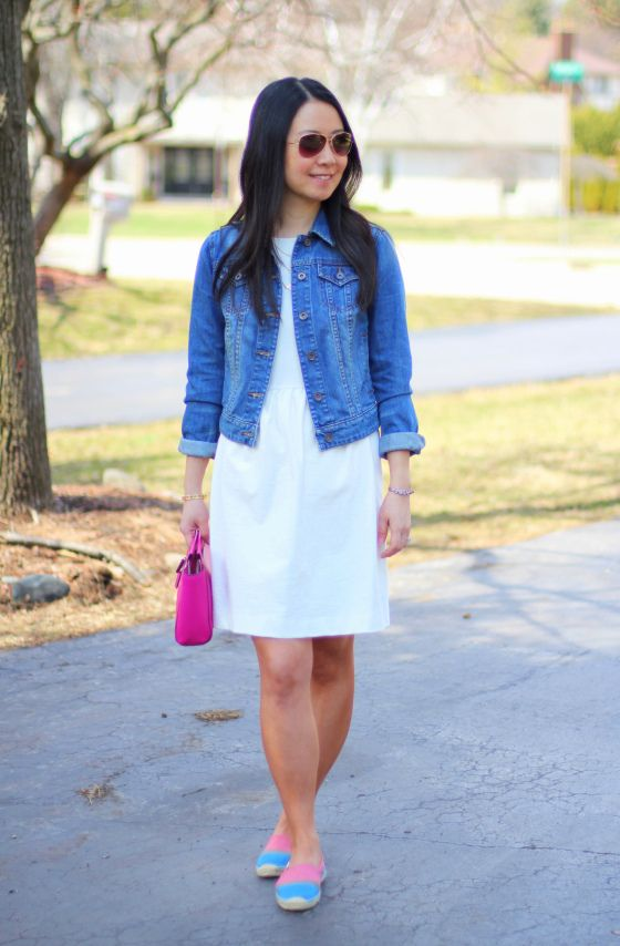 Madewell Afternoon dress | JCP denim jacket | Soludos espadrilles | Coach clutch