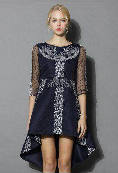 Floral Ribbon Embossed Waterfall Dress with Mesh Sleeves - Dress - Retro, Indie and Unique Fashion
