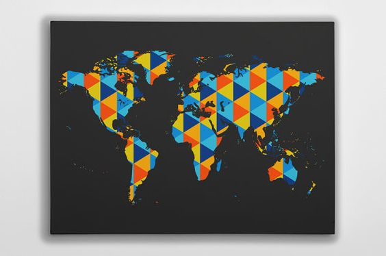 World Map Canvas Wall Art Print - Modern Abstract Geometric Shape Design PRODUCT DETAILS Gorgeous world map canvas print with a modern abstract