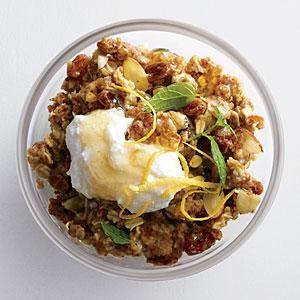 Spiced Warm Muesli with Honeyed Ricotta Recipe | MyRecipes.com