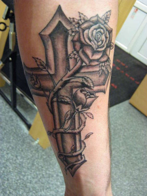 cross and rose tattoo designs cross heart rose ribbon