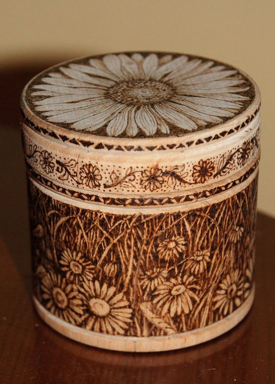 French pyrography   Wooden pyrographed pot with Daisies by ...