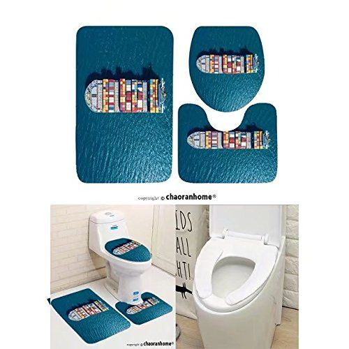 Chaoranhome Pattern Bath Mat Set 3 Piece Bathroom Mats Container