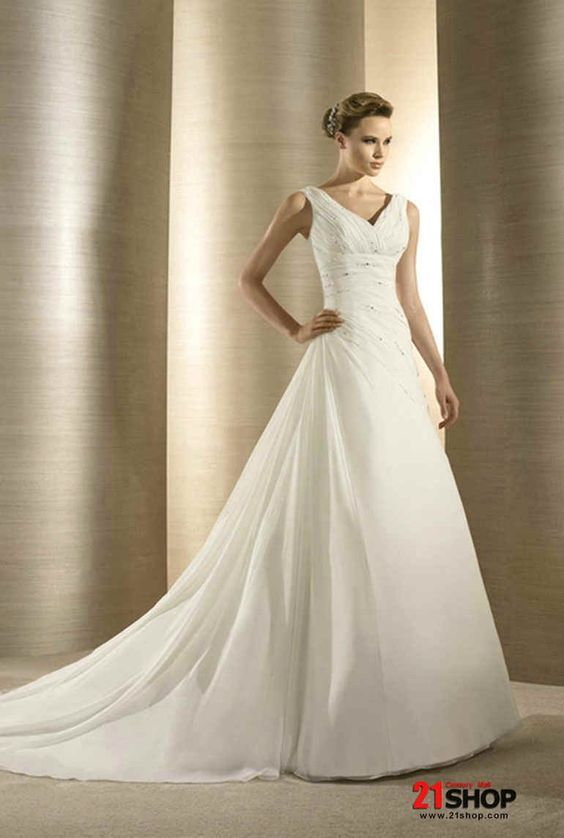 Chiffon V-neck A-line (Princess) Silhouette Wedding Dress Style ...