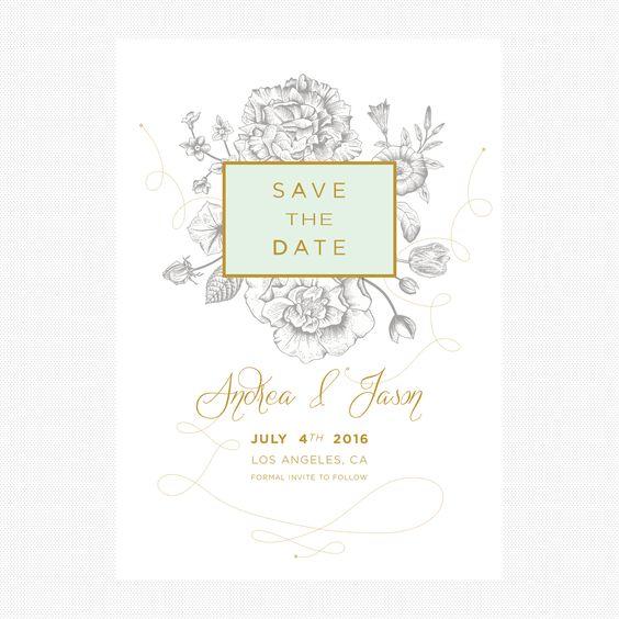 Serif, Script, Mint & Gold Save The Date