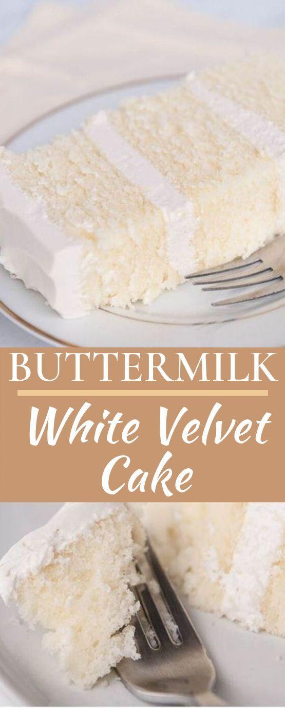 White Velvet Buttermilk Cake Cake Desserts Baking Frosting Buttermilk Buttermilk White Cake Recipe Chocolate Velvet Cake White Velvet Cakes