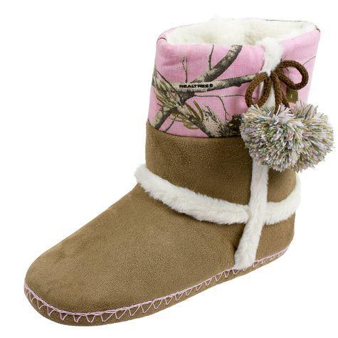 Realtree Fleece Pink Camo Brown Bootie