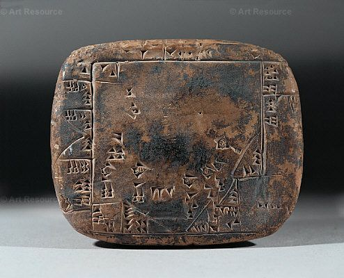 Ancient History -                                                              Calculation of the surface area of a terrain at Umma, Mesopotamia. Clay tablet, 2100 BCE.Louvre, Museum, Paris.