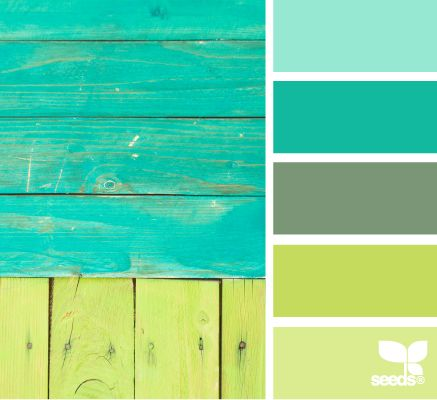 Inspiring Color Scheme from Design Seeds: boarded brights #inspiration #turquoise #neongreen: