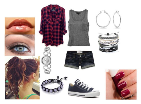 """""""Untitled #777"""" by puffball188 ❤ liked on Polyvore featuring Hollister Co., Domo Beads, Rails, Converse, Bling Jewelry, Lucien Piccard and SHIMLA"""