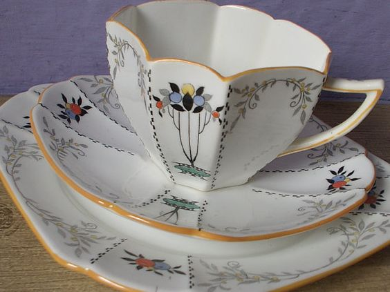 Antique tea cup and saucer plate set trio, vintage 1920's Shelley china art deco tea cup, English tea set