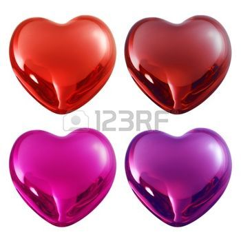 purple  love: set valentine glass hearts with reflection