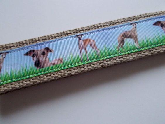 Handmade Key Fob Wristlet Keychain Whippets Dogs Puppies Tan Hand Lanyard   #Handmade