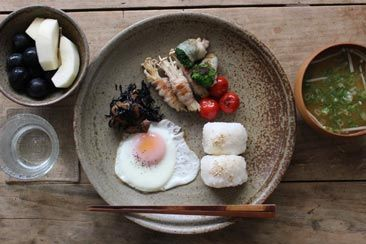 Miso soup, Rice ball and Fried eggs on Pinterest