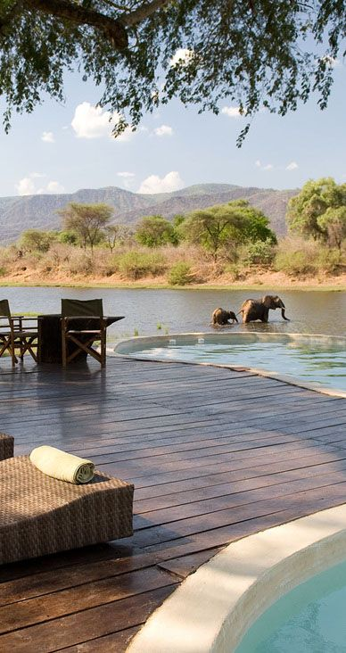 The pool at safari lodge Chongwe River House overlooks the mountains of the Lower Zambezi and the Chongwe River, where animals come to bathe and drink. Are there crocodiles in there?!