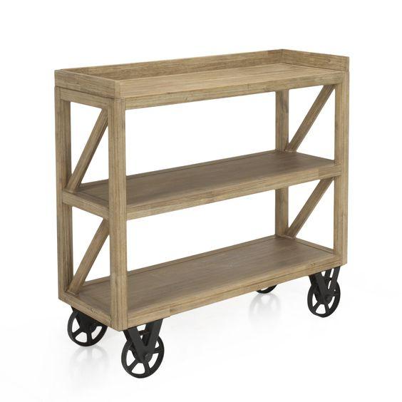 console en acacia sur roulettes brun blanchi cocto les consoles consoles et tables d. Black Bedroom Furniture Sets. Home Design Ideas
