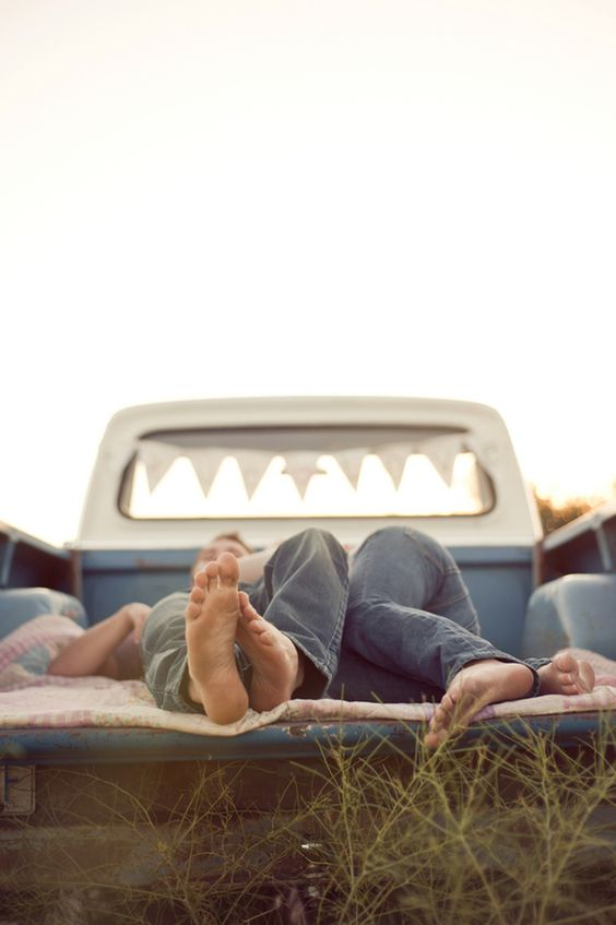 so country and romantic ! engagement photos with a truck!
