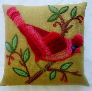 Cardinal Pillow : New Pillow made from vintage crewel