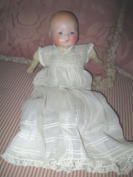 """Antique Vintage Bisque Head baby Doll Armand Marseille AM cloth body Germany 11"""""""