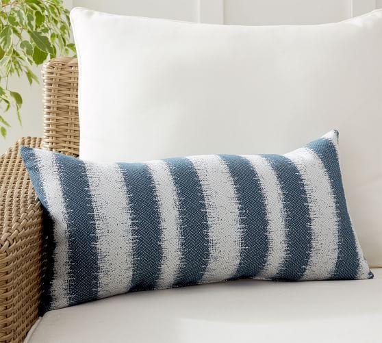 Sunbrella Addax Striped Indoor Outdoor Lumbar Pillow In 2020 Blue Outdoor Pillows Outdoor Pillows Pillows