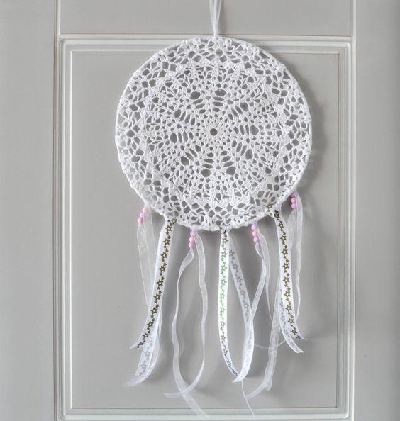 attrape r ves dreamcatcher capteur de r ve 25 cm de diam tre napperon au crochet d bebe and. Black Bedroom Furniture Sets. Home Design Ideas