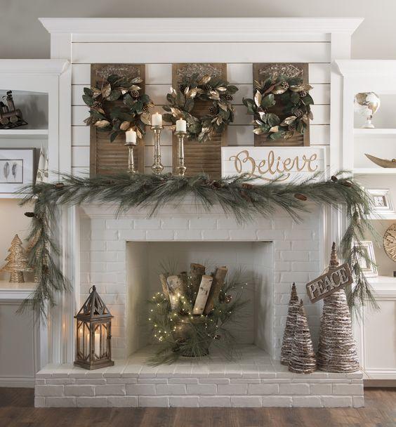 Kirkland mantel, simple mantel for Christmas