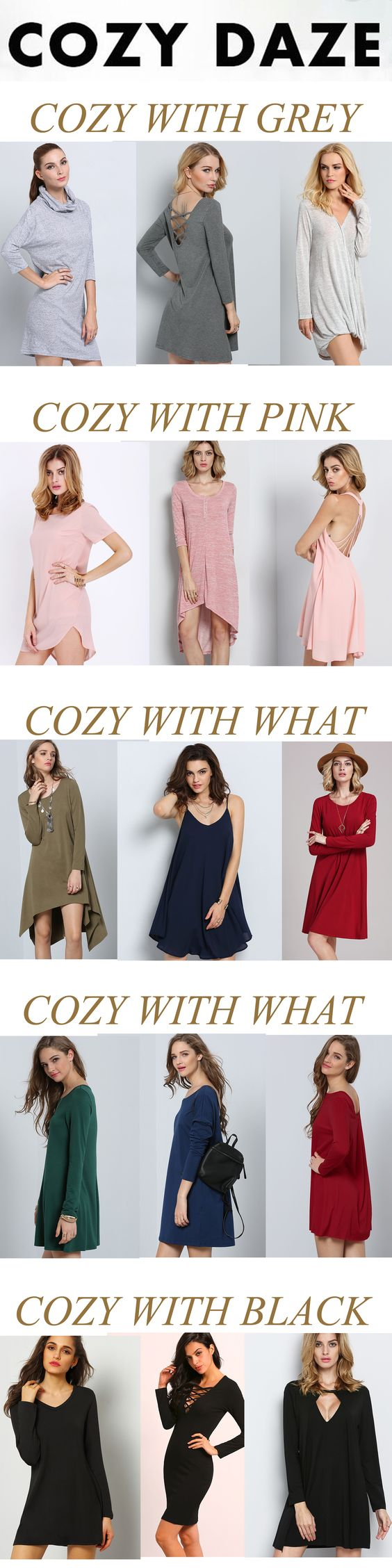 Cozy date with soft casual dress. Too much colors for you. Loose plain dress, casual stripe dress and cute print dress here for you. Sale from US$8.99. http://www.romwe.com/www-comfortable-vc-1507.html