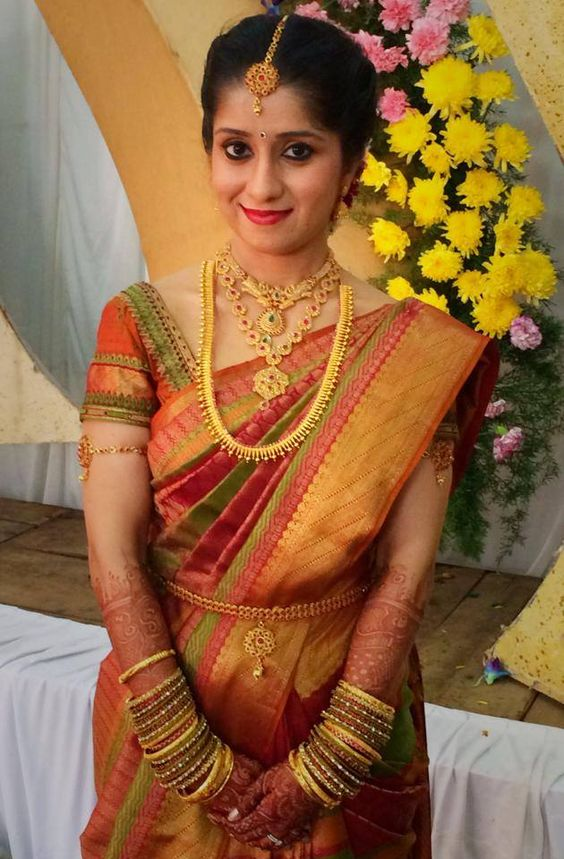 Traditional South Indian Bride Wearing Bridal Saree And