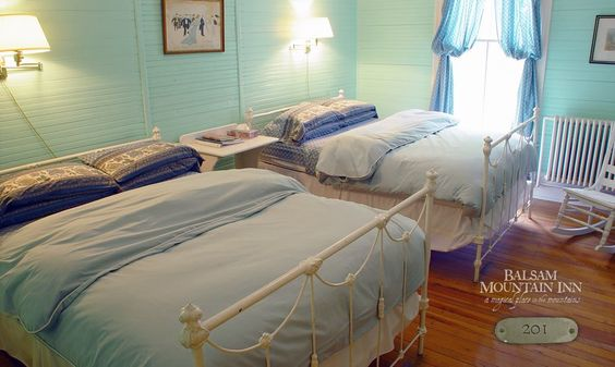 Rooms at the Balsam Mountain Inn ... Room 201 is one of our regular rooms with two double beds – a popular combination. The old iron beds were original to the inn!
