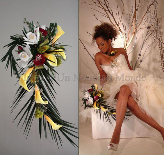 Bouquets de mariées - Bouquets cascade - bouquet exotique