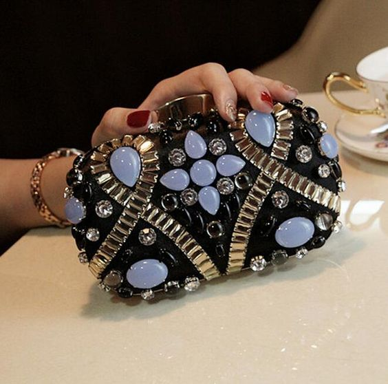 (Buy here: http://appdeal.ru/1tzi ) 100% handmade black clutch bags luxury diamond retro evening bags national elegant party bag wedding clutches chains handbag for just US $34.99