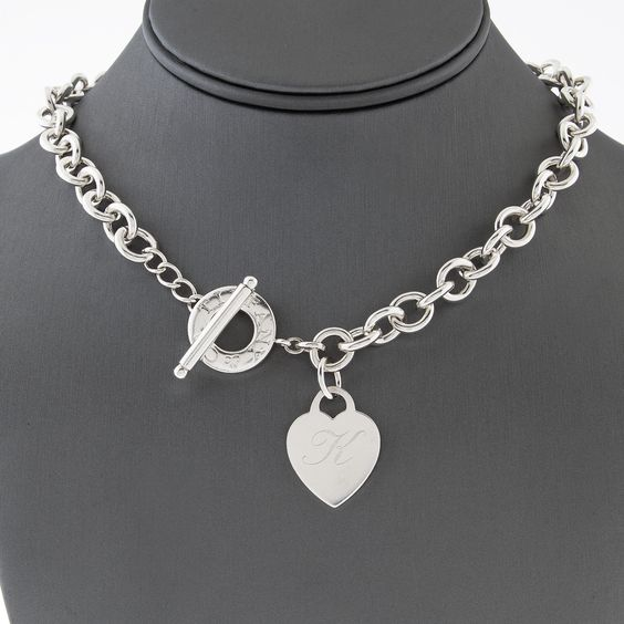 """Tiffany & Co. Heart Tag Toggle Necklace with """"K"""" Engraving"""