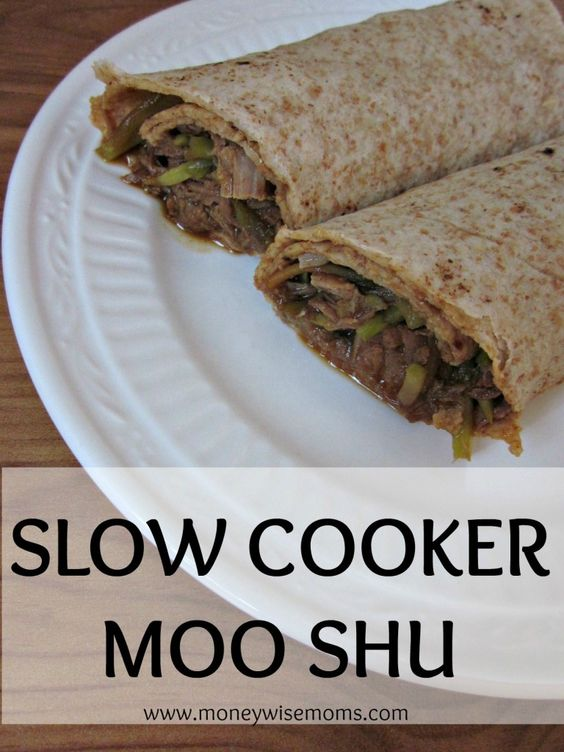 Slow Cooker Moo Shu (Chicken or Pork)--just 4 ingredients, then wrap in a white or wheat tortilla. Easy and my kids love it!