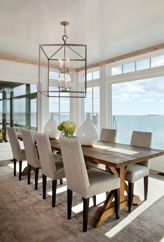 Interior Design Ideas | The table, dining chairs and lighting in this dining room are from Lillian August.
