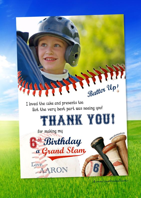 Baseball THANK YOU Card - PERSONALIZED with name and photo ...