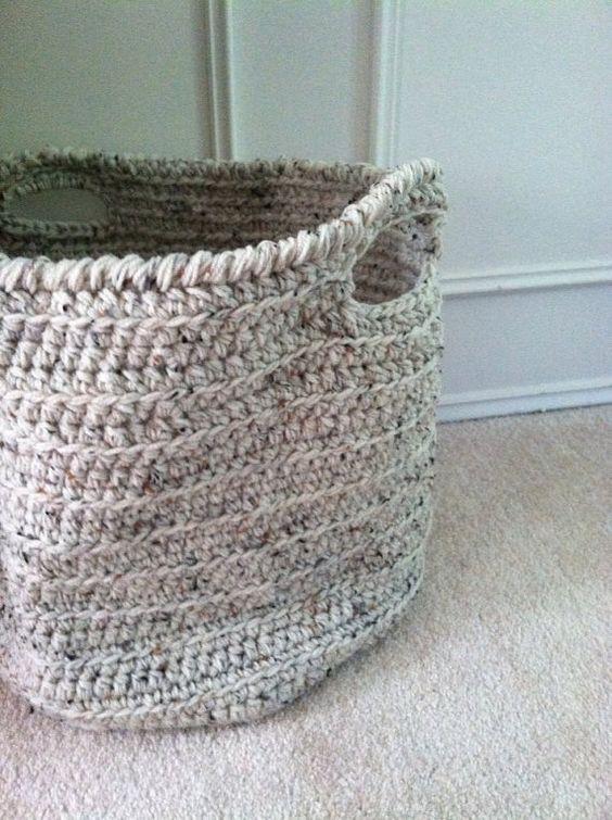 Large Crochet Basket - Flecked Ecru Beige - Round Cylinder for Blankets, Pillows, Decor Organization Storage