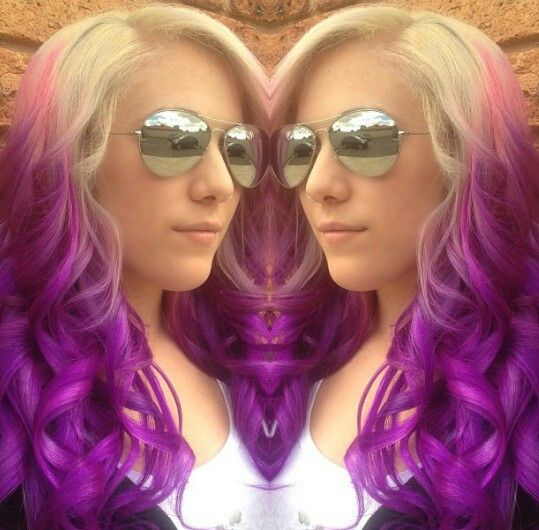 Purple blonde dyed hair