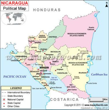 Nicaragua Cities Map Maps Charts Graphs Pinterest City - Nicaragua political map cities