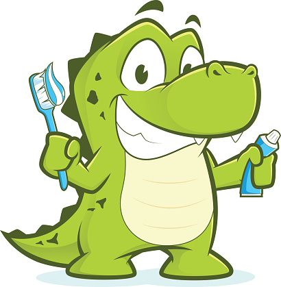 Crocodile or alligator holding toothbrush and toothpaste - Illustration vectorielle