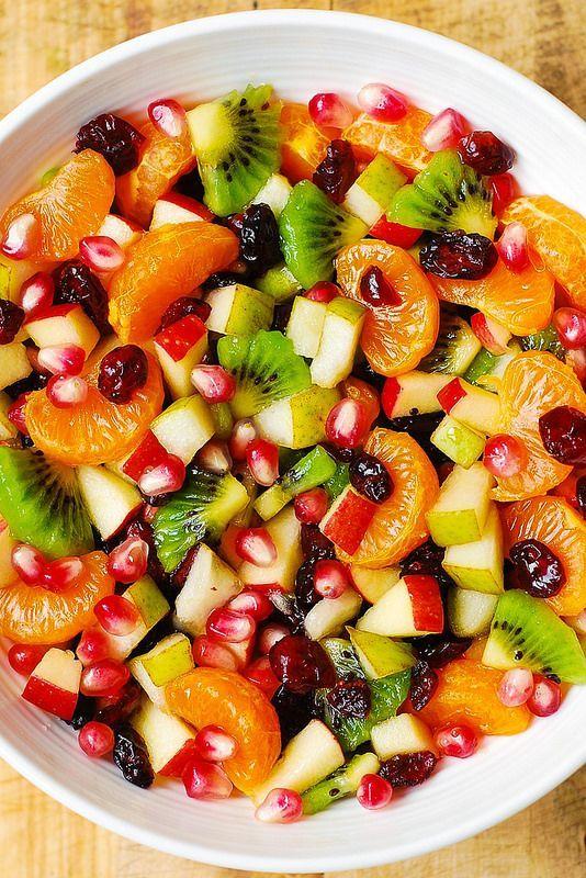 Mandarin Or Clementine Oranges Kiwi Fruit Apples Pears Pomegranate Seeds Cranberries Maple Lime Dr Winter Fruit Salad Fruit Salad Recipes Healthy Recipes