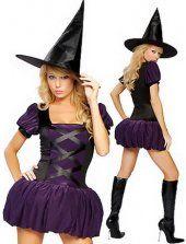Costume de sorcière violet robe feuilletée
