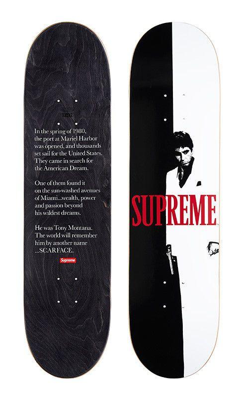 Supreme Scarface Soldout Split Skateboard Deck Confirmed Order Supremescarface Skate Decks Supreme Skateboard Skateboard Decks