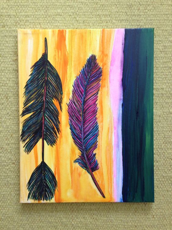 """""""Two Feathers"""" Painting on canvas. SOLD #feathers #art"""