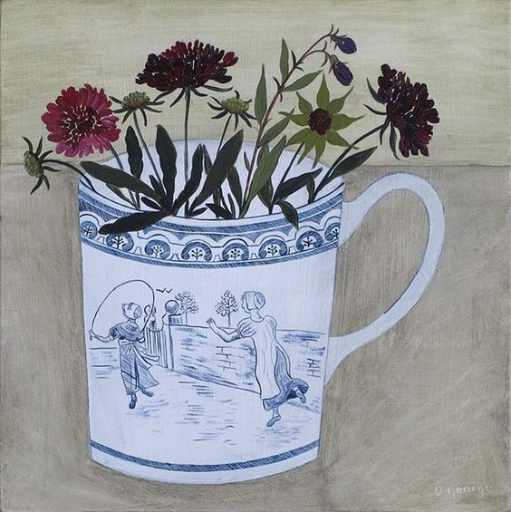 'Skipping' I have beautiful old meat platter with this design in the centre of the plate, I've adapted it to fit on a cup. Knautia from the garden. #paintingoftheday #painting #debbiegeorge #skipping #knautia #flowerpainting #debbiegeorgepainter #cuppainting