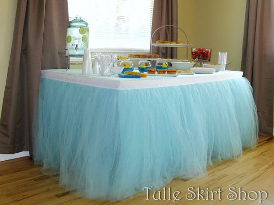 blue tulle table skirt tutu tableskirt for by
