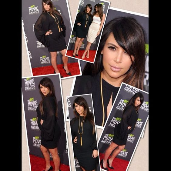 Kim K. steps out with side-swept bangs at the MTV Movie Awards