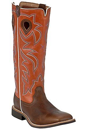 Twisted X Youth Brown with Orange Tall Top Square Toe Buckaroo ...