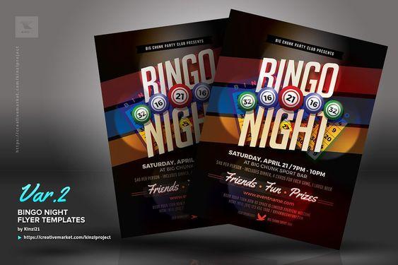 Bingo Night Flyer Templates By Kinzi21 On Creativemarket Charity