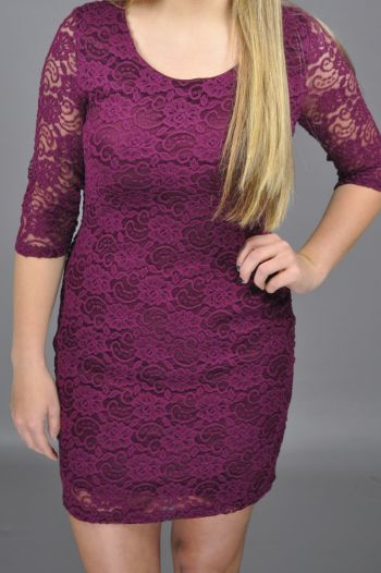 $52.00 | Be the rockstar at the holiday party with this maroon lace dress featuring a lovely feminine fit and sheer sleeves. This perfectly fitted dress can be styled with nude heels and a statement necklace for a special occasion.
