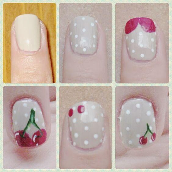 Nails Art cerezas / Mes de la fruta